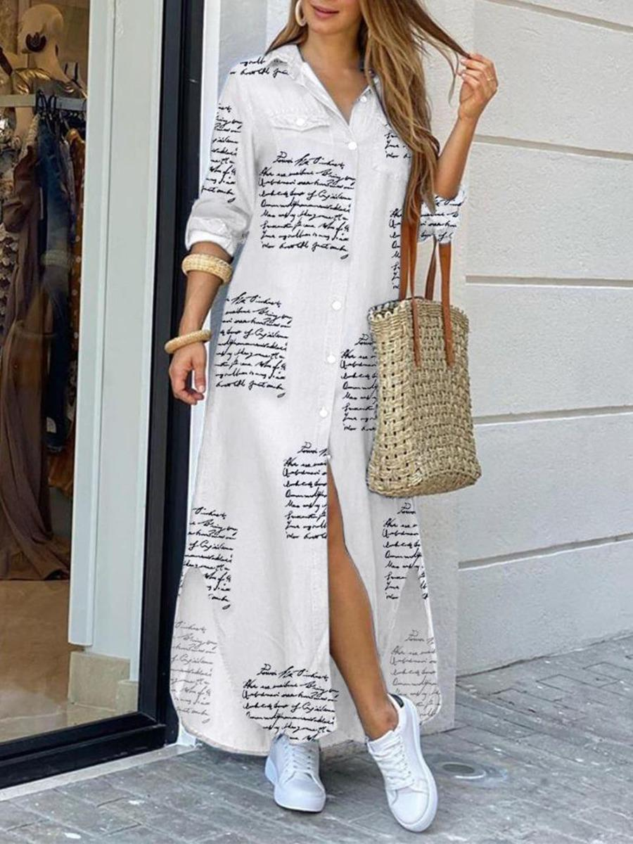shestar wholesale letter camo chain printed split hem maxi shirt dress