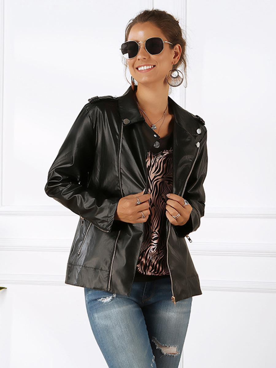 shestar wholesale long sleeve pu leather jacket with zipper