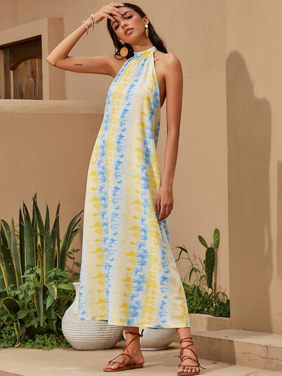 shestar wholesale open back tie dye halter dress