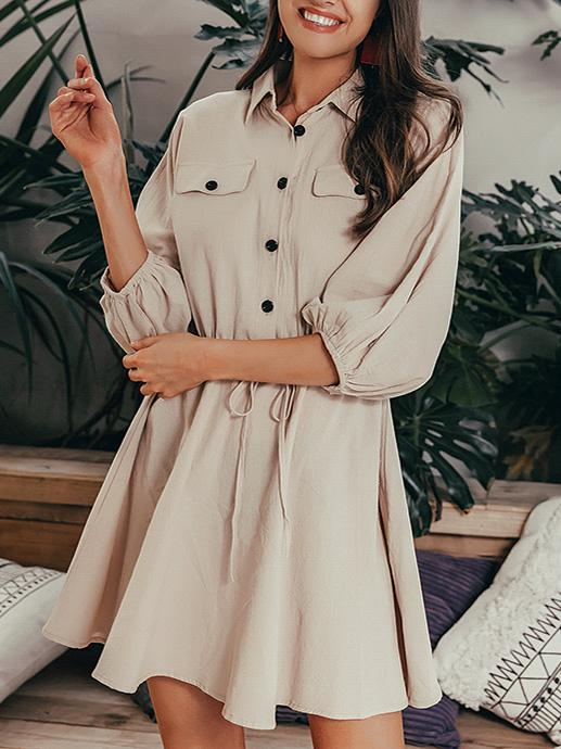 shestar wholesale tie waist button plain shirt dress