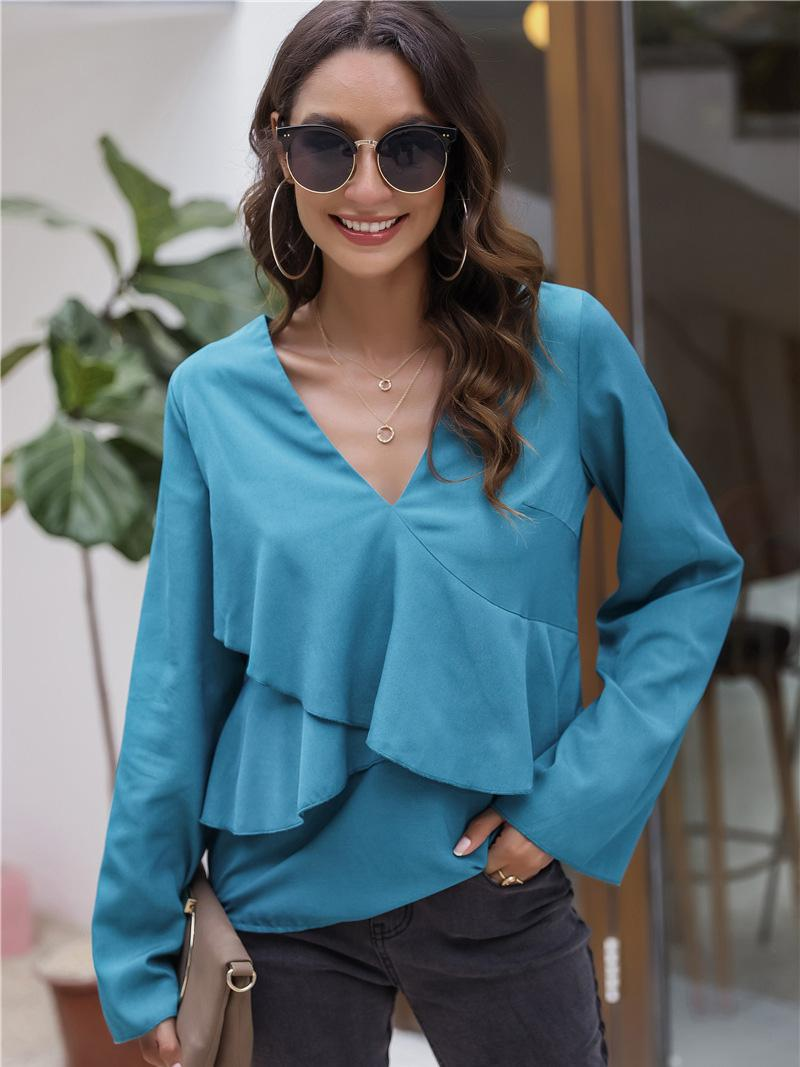 shestar wholesale v-collar solid color layered blouse