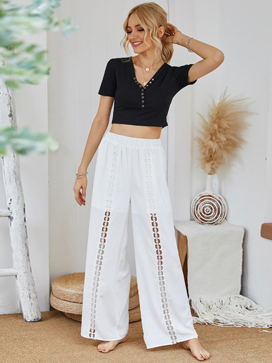 shestar wholesale wide leg cutout beachwear white trousers